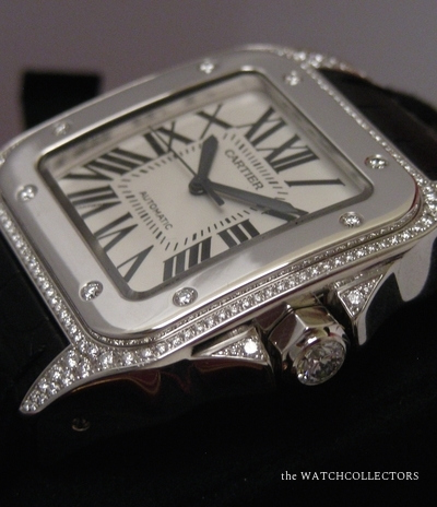 Rare Edition Spéciale 100 ans de la Santos 100 by Cartier Or Gris Sertie Diamonds  Full Set !